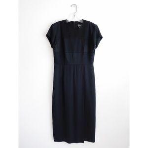 Vintage 90s Minimalist Black Midi Dress sz 6